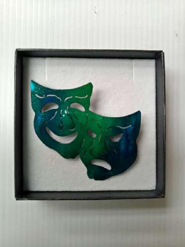 THEATRE MASK BROOCH BLUE GREEN
